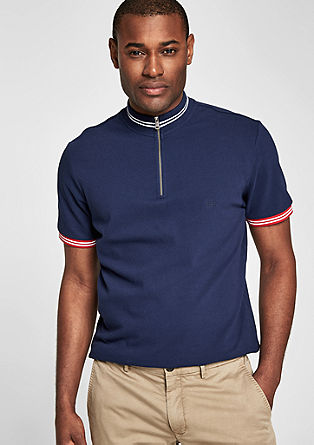 Polo shirt with a stand-up collar and zip from s.Oliver