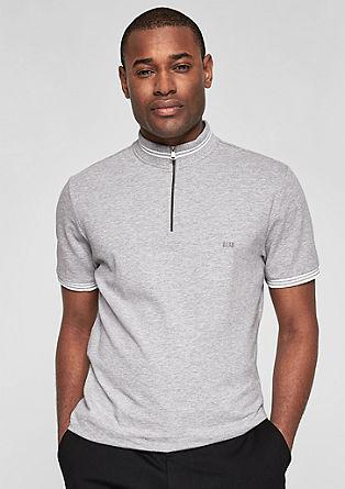 Poloshirt mit Stehkragen und Zipper
