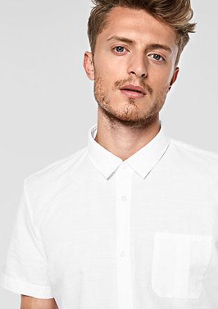 Slim: Kurzarmhemd mit Leinen