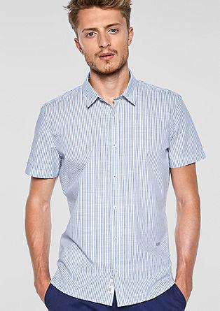 Slim: gestreept overhemd met korte mouwen