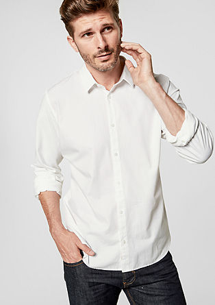 Slim: Cotton shirt in a material mix from s.Oliver