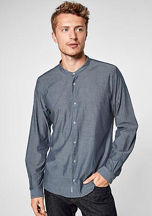 Slim: Chambray-Hemd mit Stehkragen