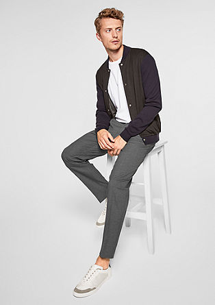 Slim: business pantalon met geweven motief