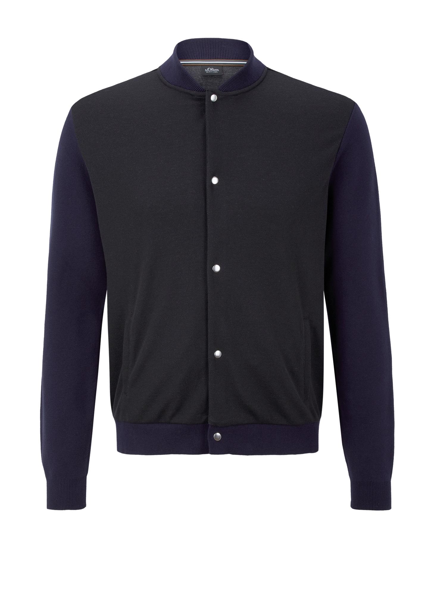 Bomber-Cardigan   Bekleidung > Strickjacken & Cardigans   Grau/schwarz   Obermaterial 85% polyester -  15% viskose  garn 100% baumwolle   s.Oliver BLACK LABEL