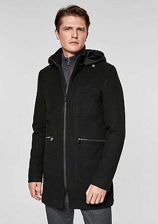 Comfort fit: short coat with a hood from s.Oliver