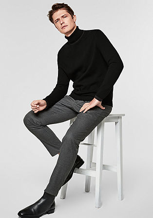 Knitted jumper with a polo neck de s.Oliver