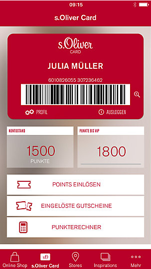 s.Oliver mobile card Verwaltung in der s.Oliver App auf einem IPhone geöffnet