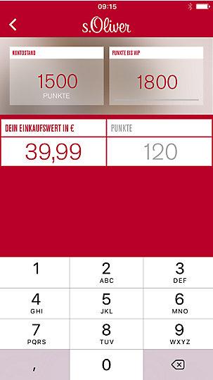 s.Oliver Punkterechner in der s.Oliver App auf einem IPhone geöffnet