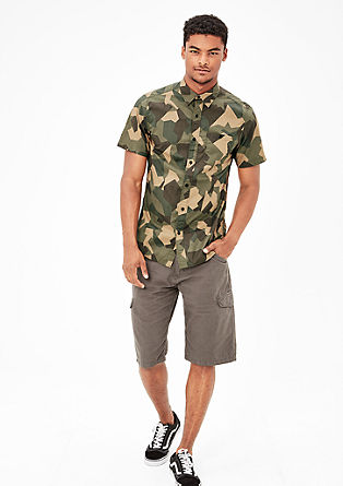 Slim: Shirt with a camouflage pattern from s.Oliver