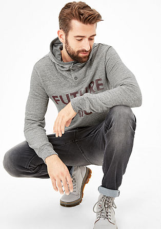 Statement hoodie with a button placket from s.Oliver