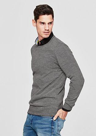 Melierter Pullover mit Leinen