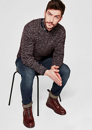 Melírovaný pulovr zžebrové pleteniny