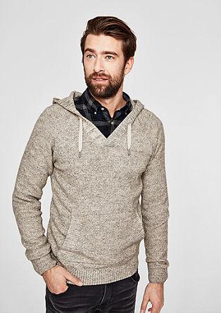 Melange knit jumper with a hood from s.Oliver
