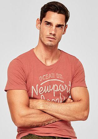 Slim: Slub yarn T-shirt with a print from s.Oliver