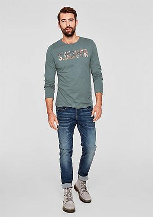 Slim: Langarmshirt mit Logo-Print
