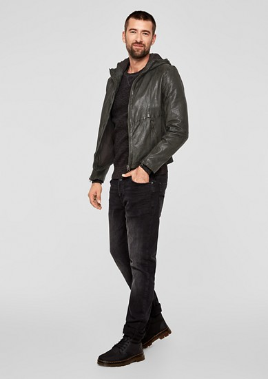 Leather jacket with a hood from s.Oliver