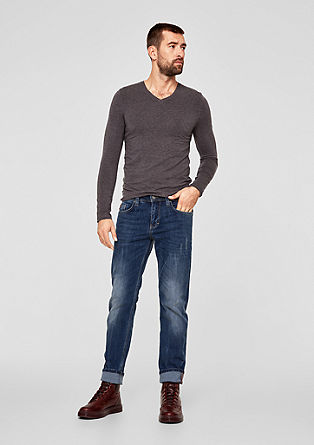 Tubx Regular: jeans with distressed details from s.Oliver