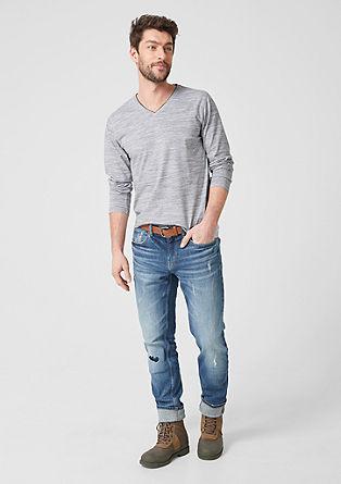 T-shirt à manches longues chiné à encolure en V de s.Oliver