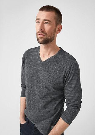 Melirana majica dolg rokav z V-izrezom