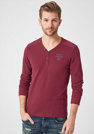 Slim: t-shirt à manches longues en maille piquée de coton de s.Oliver
