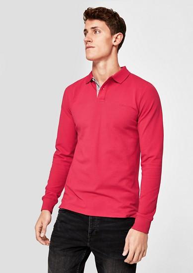 Slim: Langarm-Poloshirt aus Piqué