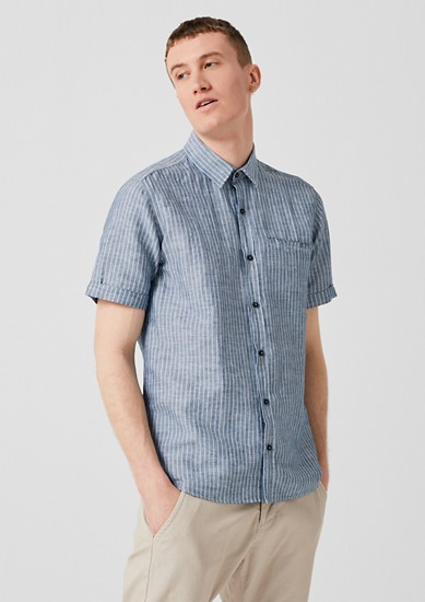 Regular: chemise à manches courtes en lin mélangé de s.Oliver