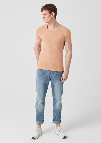 Slim: Meliertes V-Neck-Shirt