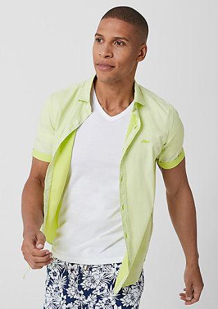 Slim: katoenen overhemd met korte mouwen
