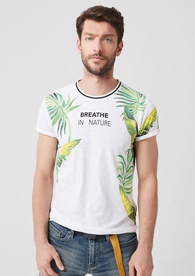 Slim: Printshirt mit Rippkragen