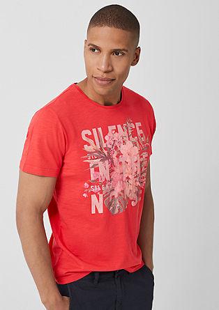 Shirt van slubgaren met print op de voorkant