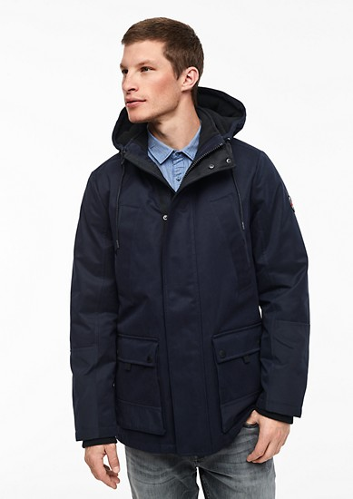 Warmer Parka im Fabric-Mix