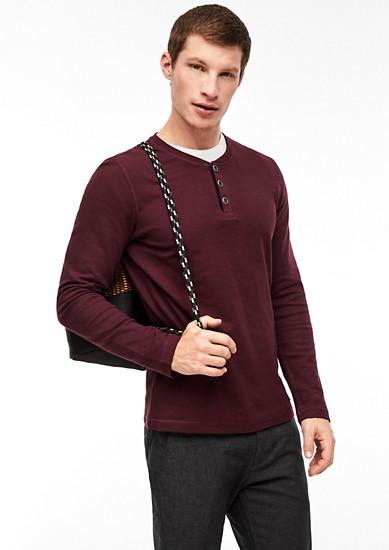 Henley shirt met structuur