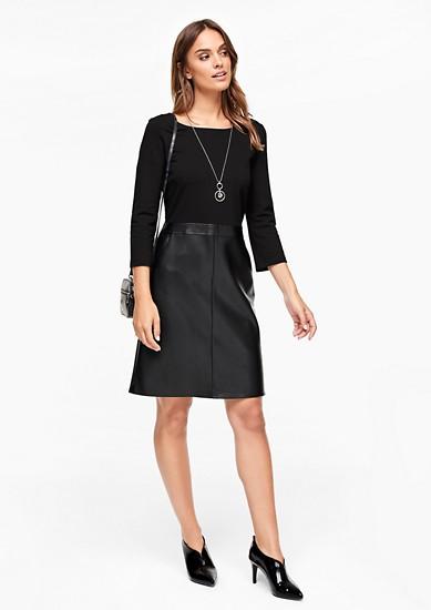 Interlock-Kleid im Leder-Look