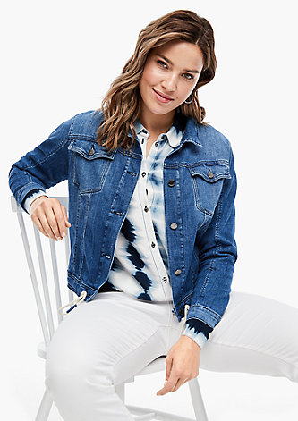 Jeansjacke mit Tunnelzug-Saum