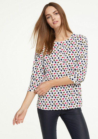 Blouse with a printed pattern and a button placket from comma