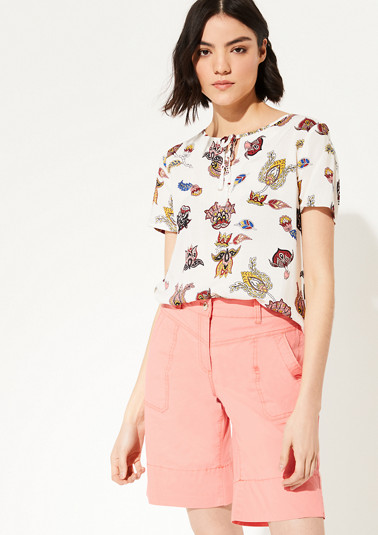 Short sleeve blouse with an ornamental pattern from comma