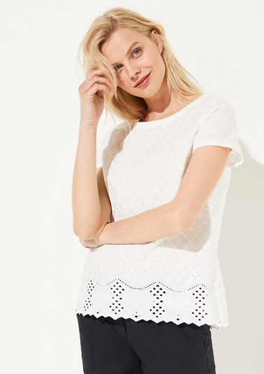 Blouse top with broderie anglaise from comma