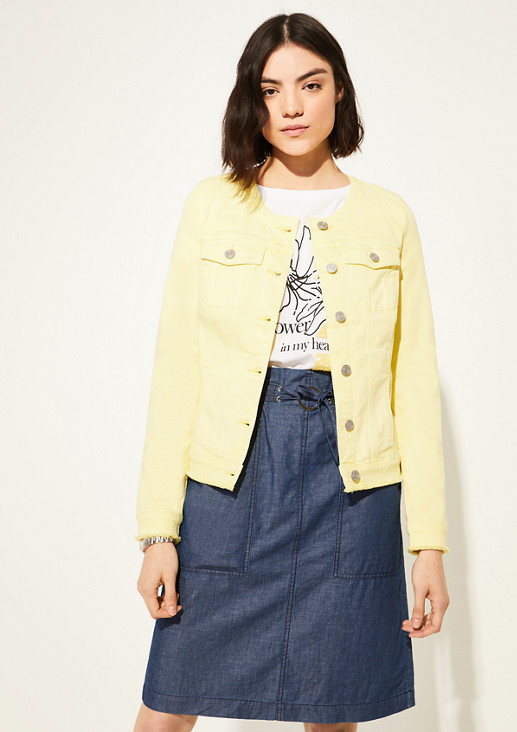 Coloured Denim-Jacke mit Fransensaum