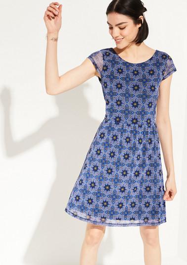 Mesh-Kleid mit Ornament-Muster