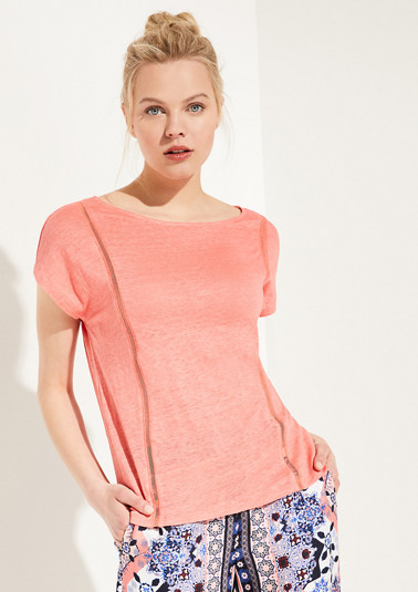 Linen top with a mesh insert from comma