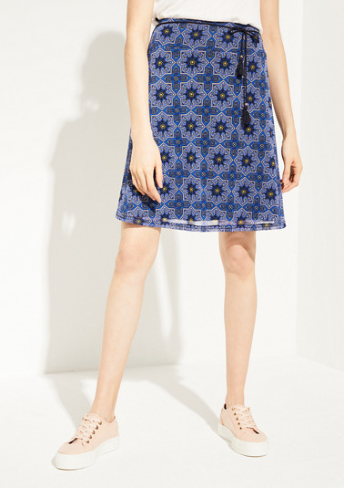 Mesh skirt with an all-over print from comma