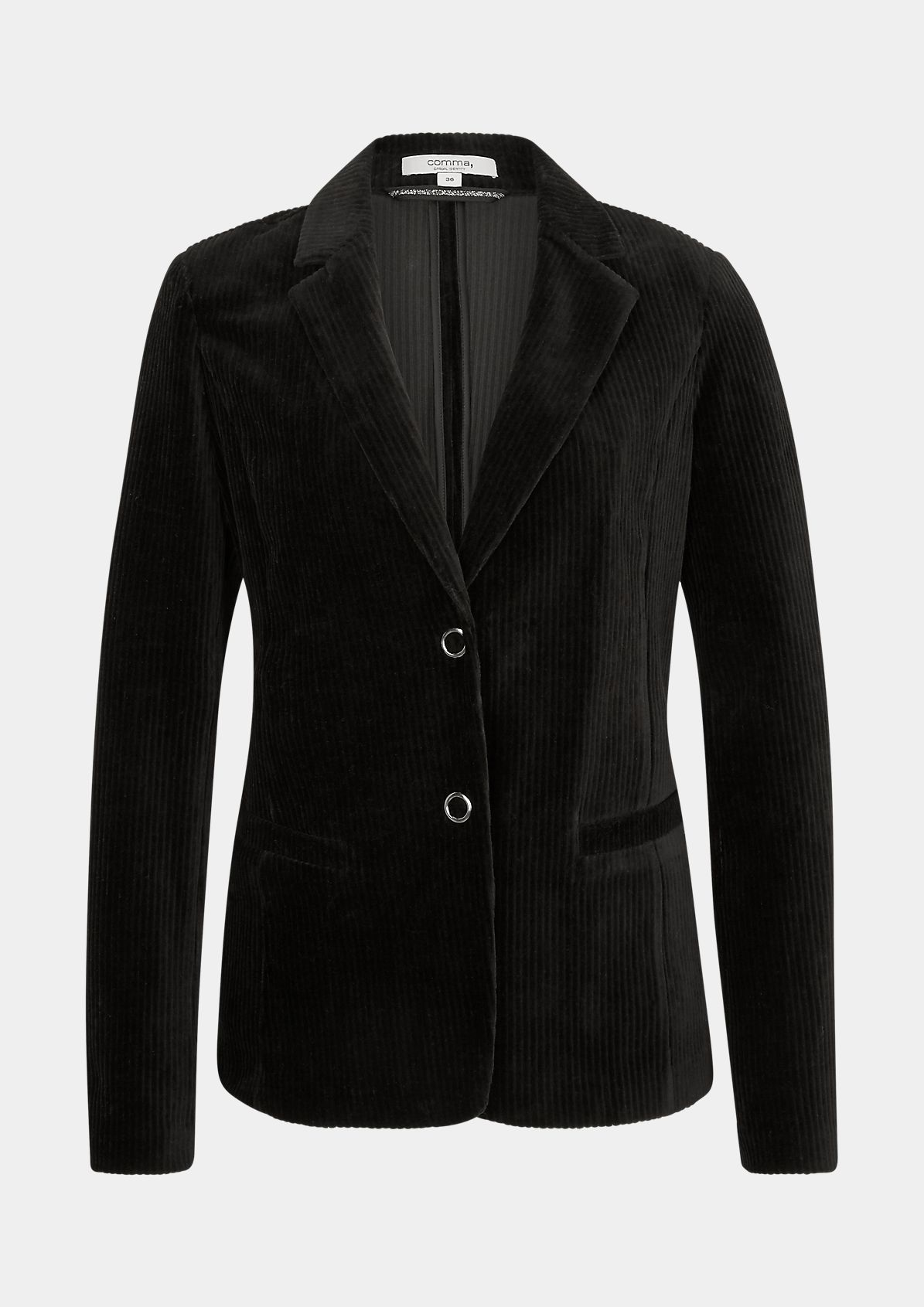 Blazer mit Satin-Detail am Kragen