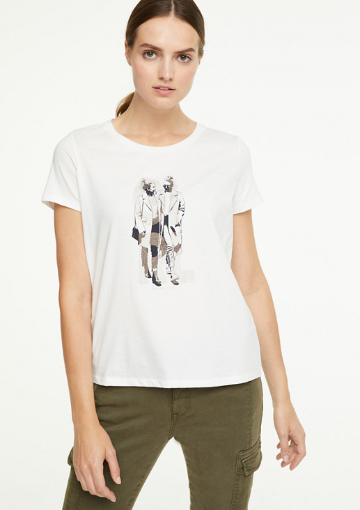 Top with a graphic print from comma