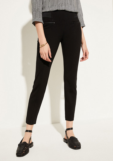Slim fit: trousers with zip details from comma