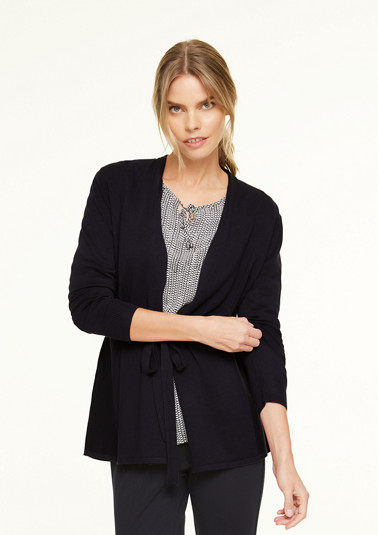 Fine knit cardigan with a tie-around belt from comma