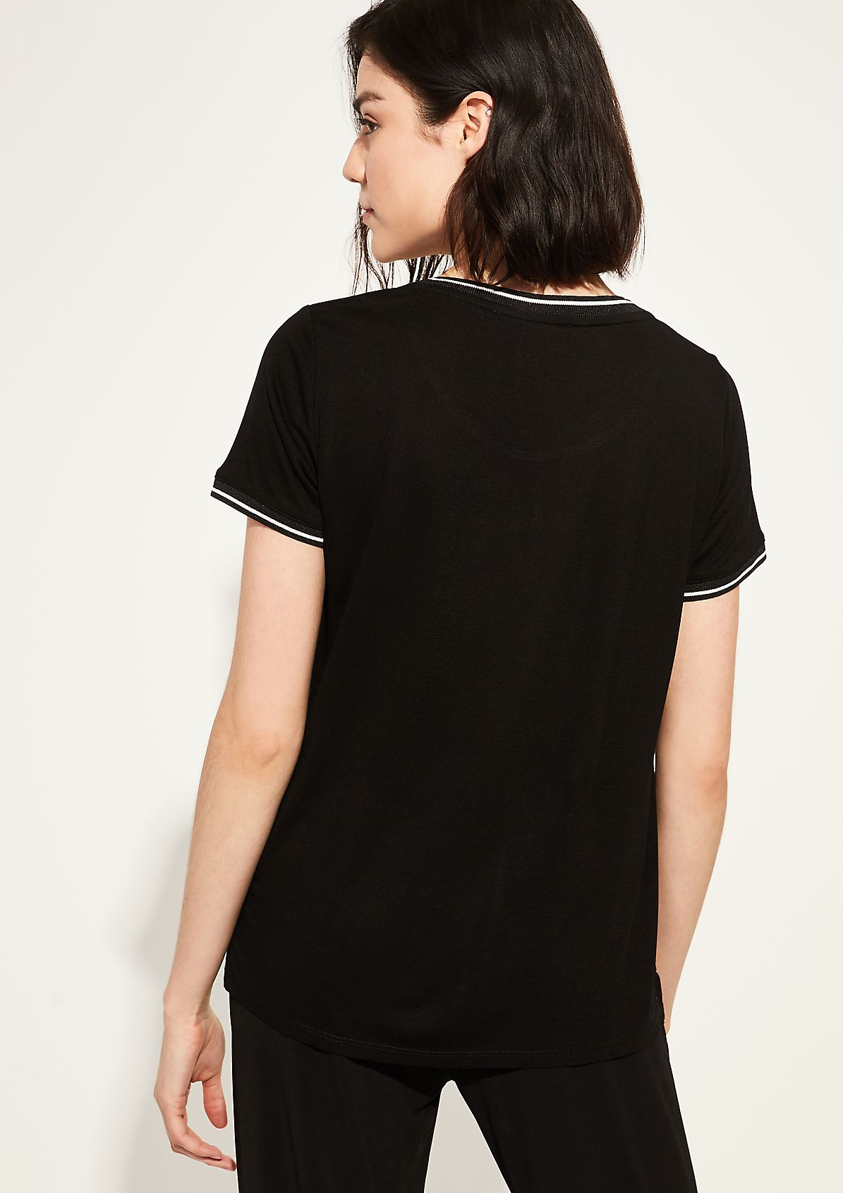 Fabricmix-Shirt mit Chiffon-Insert