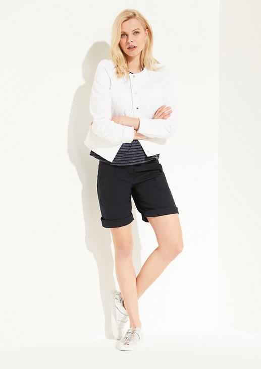 Jeansjacke mit Fransenkanten