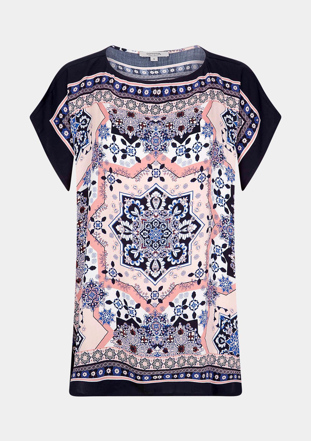 Oversized Bluse mit Scarf-Print