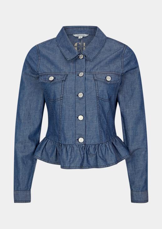 Gerüschte Jacke aus einer Leinenmischung