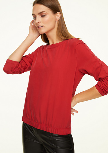 Fabric mix T-shirt with a satin front from comma